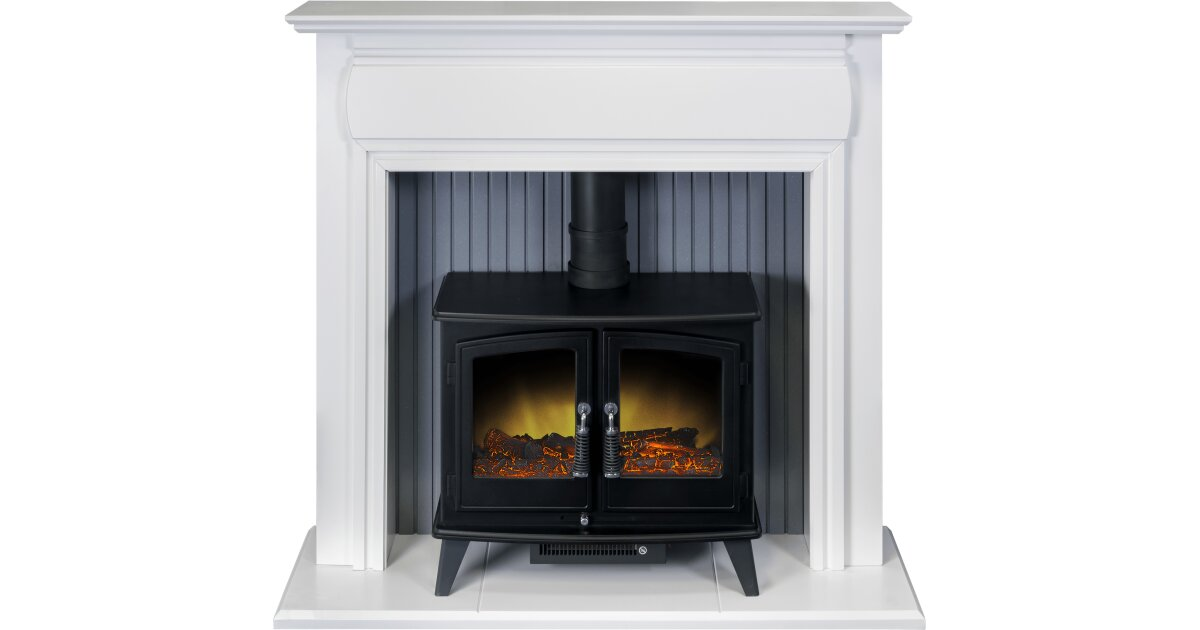 Adam Florence Stove Suite In Pure White With Woodhouse Electric